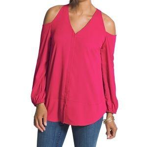 Chico's Women's Raspberry Cold Shoulder Top